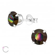 Round 6mm with Swarovski® crystals - 925 Sterling Silver Swarovski Silver Ear Studs A4S35040
