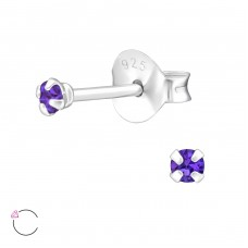 Round 2mm with Swarovski® crystals - 925 Sterling Silver Swarovski Silver Ear Studs A4S35042