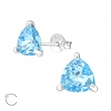 Triangle with Swarovski® crystals - 925 Sterling Silver Swarovski Silver Ear Studs A4S35598