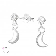 Moon with Swarovski® crystals - 925 Sterling Silver Swarovski Silver Ear Studs A4S35645