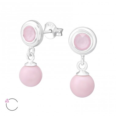 Round With Hanging Pearl with Swarovski® crystals - 925 Sterling Silver Swarovski Silver Ear Studs A4S35749