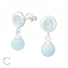 Round With Hanging Pearl with Swarovski® crystals - 925 Sterling Silver Swarovski Silver Ear Studs A4S35750