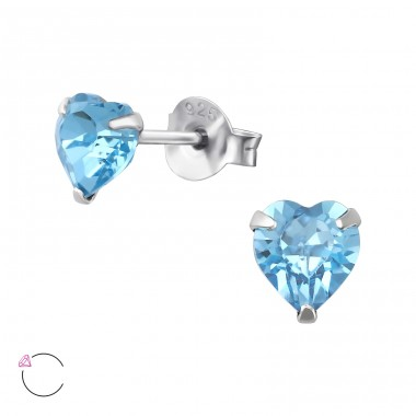 Heart with Swarovski® crystals - 925 Sterling Silver Swarovski Silver Ear Studs A4S36076