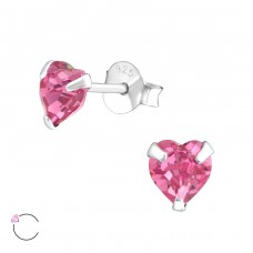 Heart with Swarovski® crystals - 925 Sterling Silver Swarovski Silver Ear Studs A4S36646