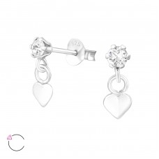 Hanging Heart - 925 Sterling Silver Swarovski Silver Ear Studs A4S37641