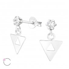 Hanging Triangle - 925 Sterling Silver Swarovski Silver Ear Studs A4S37642