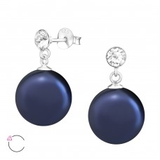 Hanging Round - 925 Sterling Silver Swarovski Silver Ear Studs A4S37961