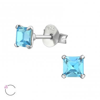 Square with Swarovski® crystals - 925 Sterling Silver Swarovski Silver Ear Studs A4S38307