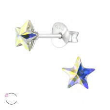 Star with Swarovski® crystals - 925 Sterling Silver Swarovski Silver Ear Studs A4S38401