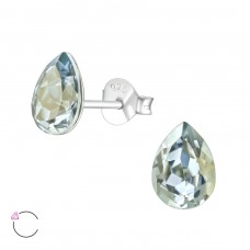 Pear with Swarovski® crystals - 925 Sterling Silver Swarovski Silver Ear Studs A4S38403