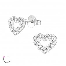 Heart with Swarovski® crystals - 925 Sterling Silver Swarovski Silver Ear Studs A4S38510