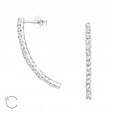 Curve Bar with Swarovski® crystals - 925 Sterling Silver Swarovski Silver Ear Studs A4S38623