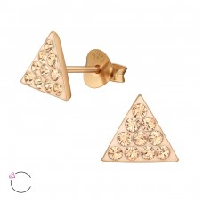 Triangle with Swarovski® crystals - 925 Sterling Silver Swarovski Silver Ear Studs A4S39021