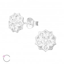 Flower with Swarovski® crystals - 925 Sterling Silver Swarovski Silver Ear Studs A4S39035