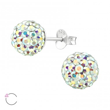 Ball with Swarovski® crystals - 925 Sterling Silver Swarovski Silver Ear Studs A4S39037