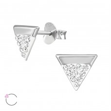 Triangle with Swarovski® crystals - 925 Sterling Silver Swarovski Silver Ear Studs A4S39040