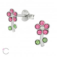 Flower with Swarovski® crystals - 925 Sterling Silver Swarovski Silver Ear Studs A4S39041