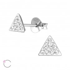 Triangle with Swarovski® crystals - 925 Sterling Silver Swarovski Silver Ear Studs A4S39043