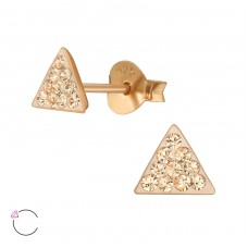 Triangle with Swarovski® crystals - 925 Sterling Silver Swarovski Silver Ear Studs A4S39044