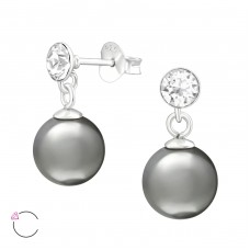 Round With Hanging Pearl - 925 Sterling Silver Swarovski Silver Ear Studs A4S39066