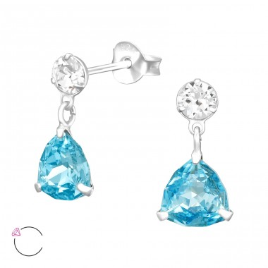 Swarovski hanging Pear shape crystal With Swarovski® Crystals - 925 Sterling Silver Swarovski Silver Ear Studs A4S41025