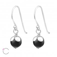 Round - 925 Sterling Silver Swarovski Silver Earrings A4S24231