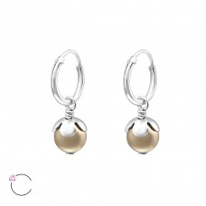 Round with Swarovski® crystals - 925 Sterling Silver Swarovski Silver Earrings A4S24232