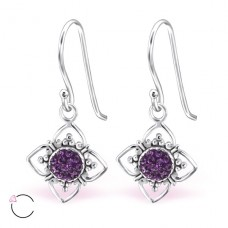 Flower with Swarovski® crystals - 925 Sterling Silver Swarovski Silver Earrings A4S24398