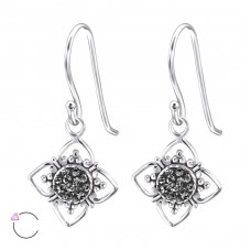 Flower - 925 Sterling Silver Swarovski Silver Earrings A4S24398