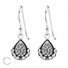 Tear Drop - 925 Sterling Silver Swarovski Silver Earrings A4S24399
