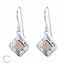 Square - 925 Sterling Silver Swarovski Silver Earrings A4S24400