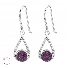 Tear Drop - 925 Sterling Silver Swarovski Silver Earrings A4S24401
