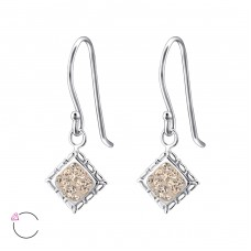 Square - 925 Sterling Silver Swarovski Silver Earrings A4S24404