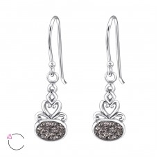 Oval - 925 Sterling Silver Swarovski Silver Earrings A4S24406