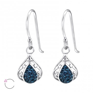 Tear Drop - 925 Sterling Silver Swarovski Silver Earrings A4S24407