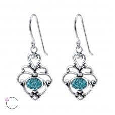 Flower - 925 Sterling Silver Swarovski Silver Earrings A4S24409