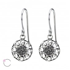 Round - 925 Sterling Silver Swarovski Silver Earrings A4S24410