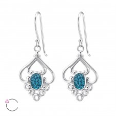 Flower with Swarovski® crystals - 925 Sterling Silver Swarovski Silver Earrings A4S24411