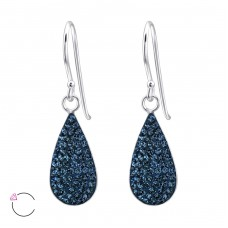 Teardrop - 925 Sterling Silver Swarovski Silver Earrings A4S24637