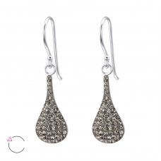 Teardrop - 925 Sterling Silver Swarovski Silver Earrings A4S24638