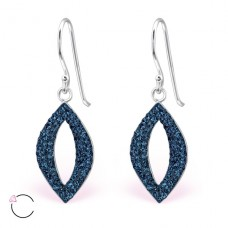 Marquise with Swarovski® crystals - 925 Sterling Silver Swarovski Silver Earrings A4S24642