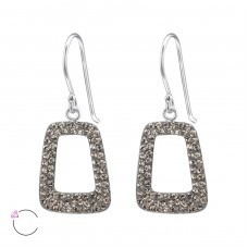 Trapezoid - 925 Sterling Silver Swarovski Silver Earrings A4S24643