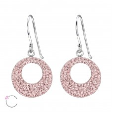 Circle - 925 Sterling Silver Swarovski Silver Earrings A4S24644