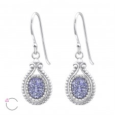Oval - 925 Sterling Silver Swarovski Silver Earrings A4S25008