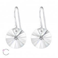 Round - 925 Sterling Silver Swarovski Silver Earrings A4S27939