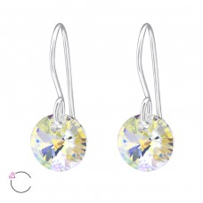 Round - 925 Sterling Silver Swarovski Silver Earrings A4S27940