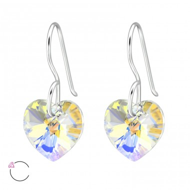 Heart - 925 Sterling Silver Swarovski Silver Earrings A4S27941