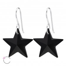 Star - 925 Sterling Silver Swarovski Silver Earrings A4S27946