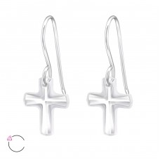 Cross - 925 Sterling Silver Swarovski Silver Earrings A4S27948