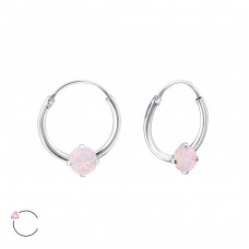 Round - 925 Sterling Silver Swarovski Silver Earrings A4S27949
